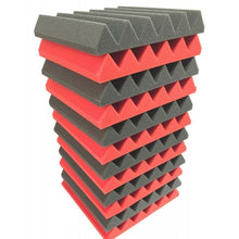 "Load image into Gallery viewer, 2"" x 12"" x 12""-12PK Red and Black Acoustic Wedge Soundproofing Studio Foam Tiles"