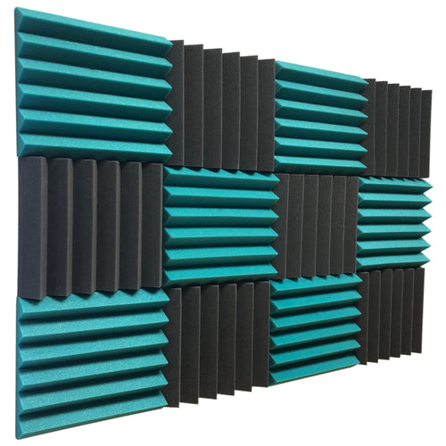 teal and black acoustic foam panels for sound absorption