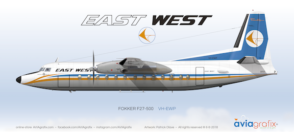 East-West Airlines ~ Fokker F27-500 VH-EWP ~ Livery 5 Postcard