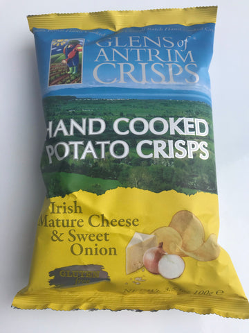 Glens of Antrim crisps - Mature Cheddar Cheese and Sweet Onion Flavour - 100g bag