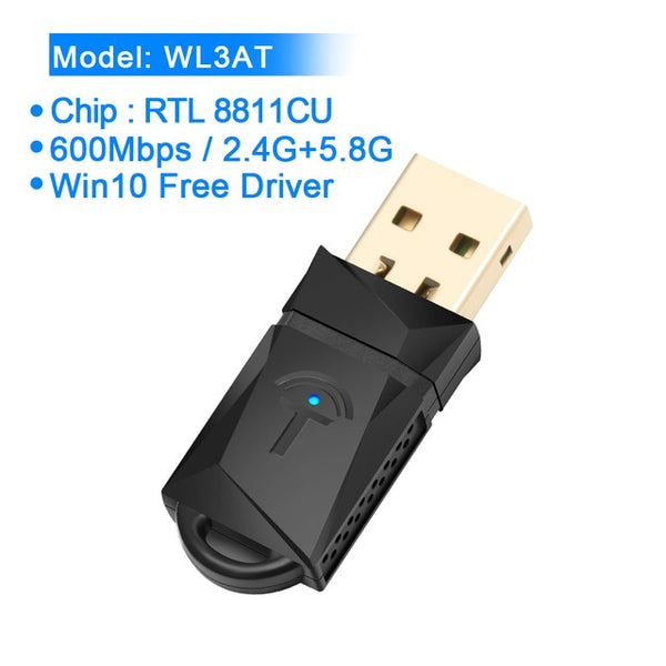 Rocketek 150/300/600Mbps Wireless USB WiFi adapter MT7601/RTL8188CU Wi-Fi Receiver Dongle 2.4G 5GHZ for Pc Windows/MAC OS/Linux