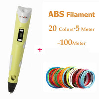 IGRARK 3D Printer Pen 3D Drawing Pens With 20Colors ABS/PLA Filament LCD 3D Pens Children Birthday/Christmas gift DIY Drawing