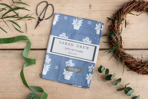 Dark Blue Primula Tea Towel