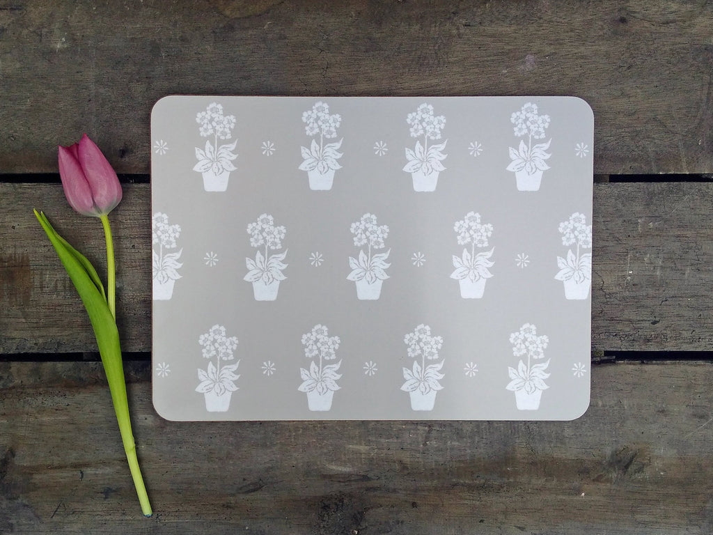 Grey Primula Placemats