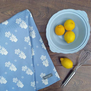 Light Blue Primula Tea Towel
