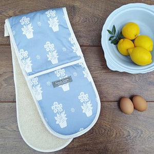 Light Blue Primula Double Oven Gloves
