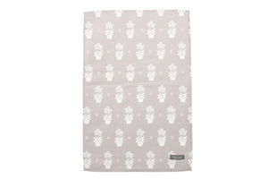 Grey Primula Tea Towel