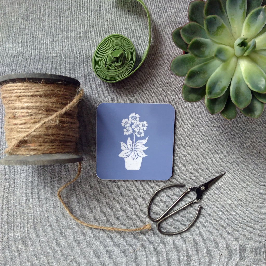 Dark Blue Primula Coasters
