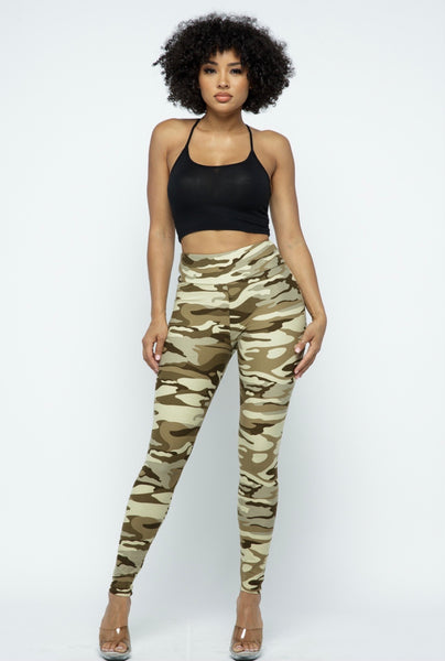 Taupe Camo Print High Waist Leggings