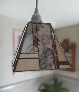Pendant Lamp with Hand-made Pressed Flowers