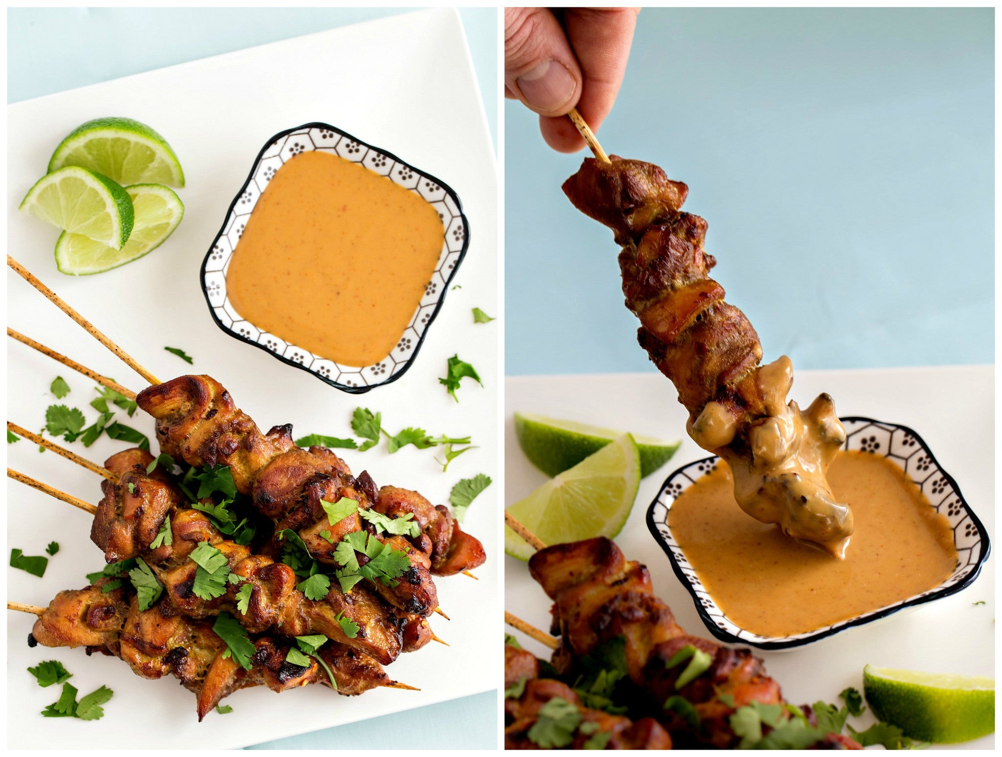 Grilled Chicken Satay Skewers with Cambodian Coconut Peanut Sauce