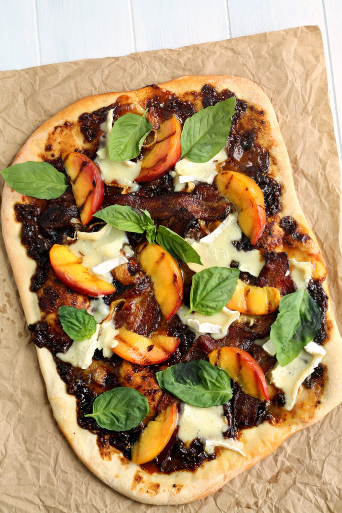 Balsamic Fig Pizza with Grilled Peaches and Basil