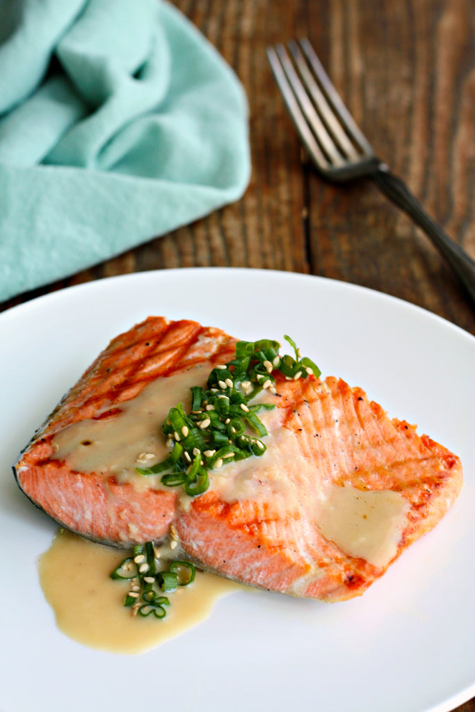 Grilled Salmon with Japanese Sesame Miso Dressing