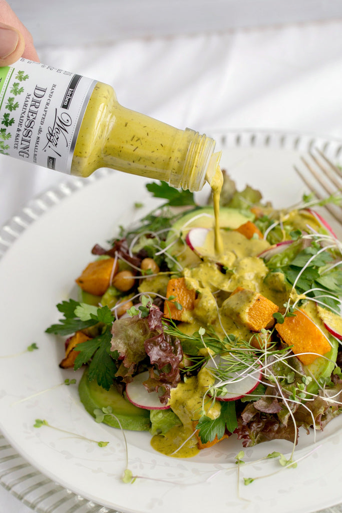 Roasted Squash and Chickpea Salad with Lemon Green Tahini Dressing