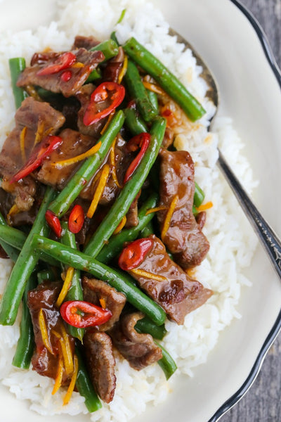 Beef and Green Beans Stir Fry with Sweet Chili Orange Sesame Sauce