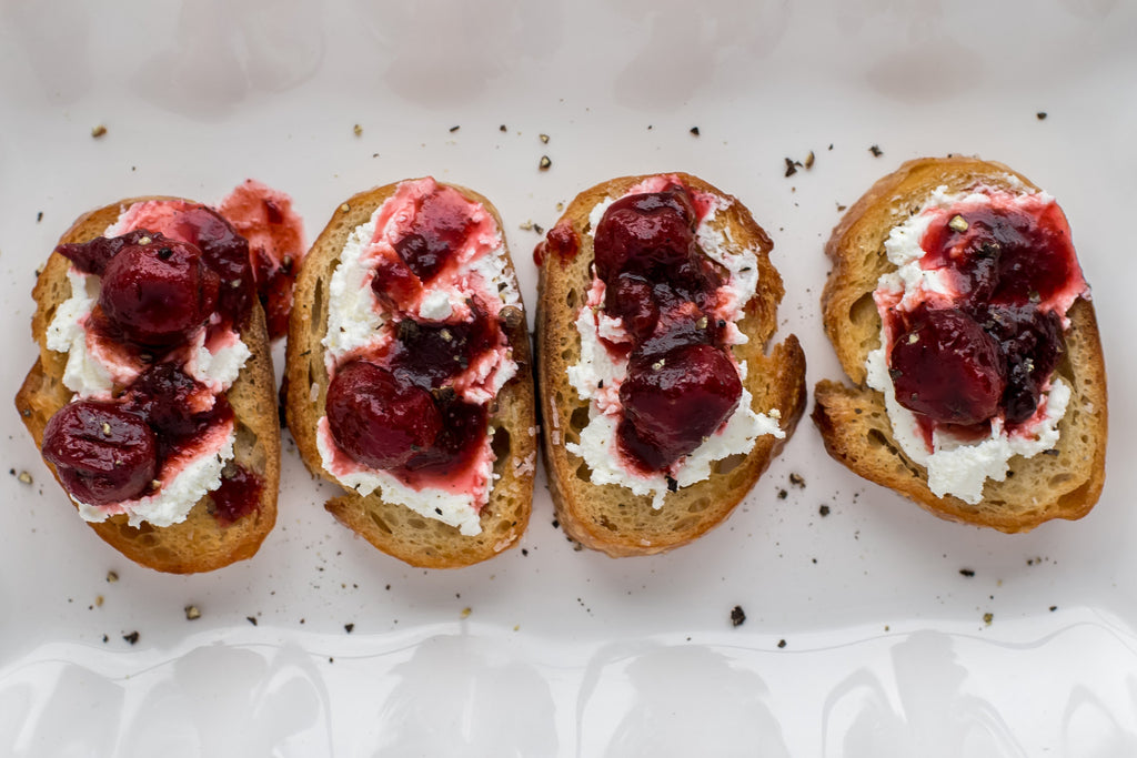 cherry and goats cheese crostini