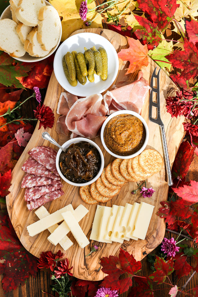 Fall Festive Charcuterie Board with Mustard Condiment and Onion Jam | Wozz! Kitchen Creations