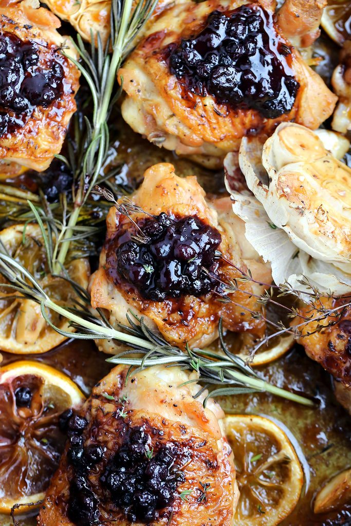 Chicken with Blueberry Rosemary Sauce