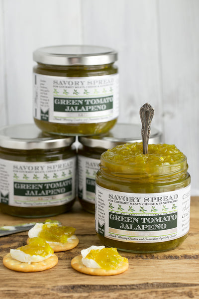 Green Tomato Jalapeno Jelly with Cream Cheese