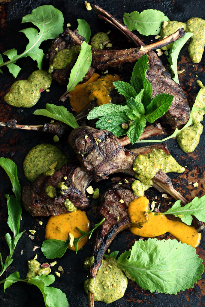 Grilled Lamb Chops with Chermoula Mint Pistachio Pesto