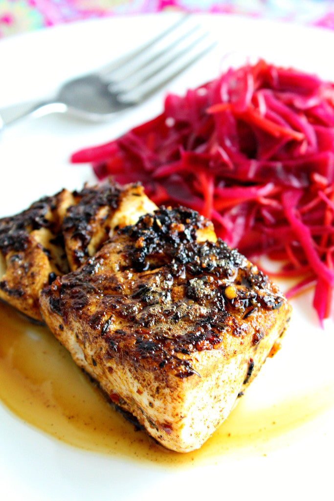 Blackened Fish with Jamaican Jerk Pineapple Chutney