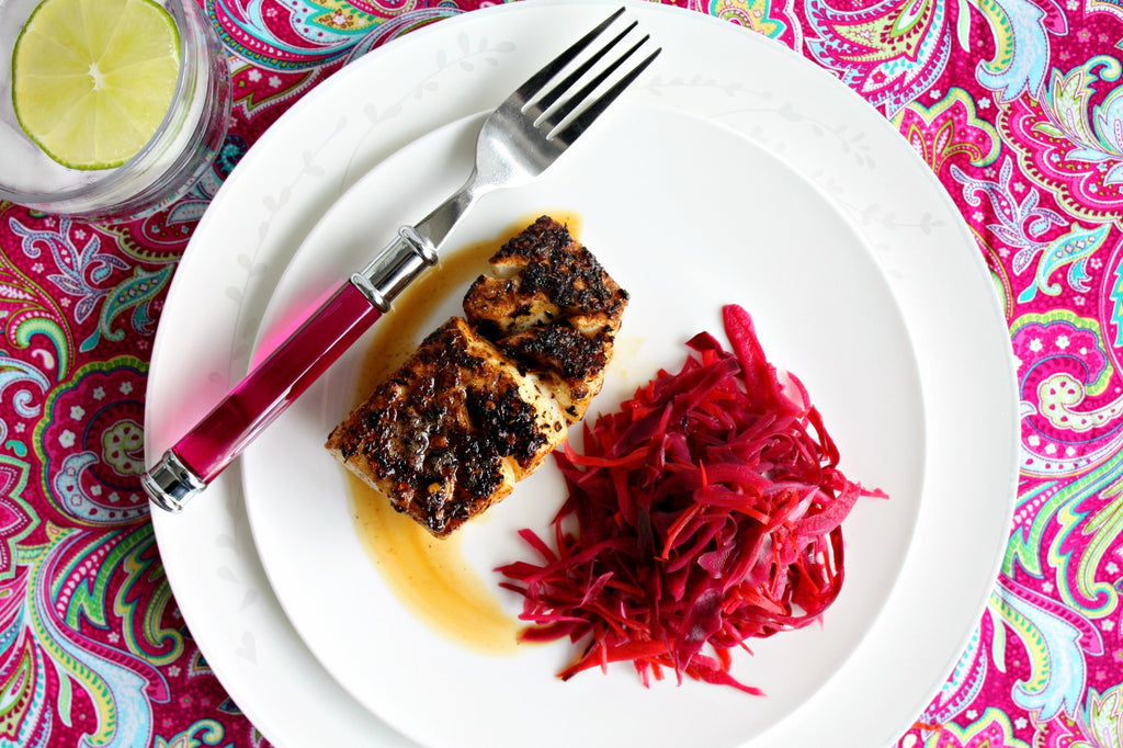 Jamaican Blackened Fish with Pickled Cabbage | Wozz! Kitchen Creations