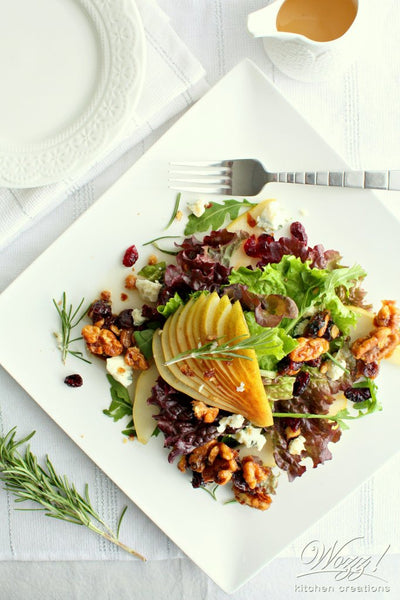 Holiday Pear Salad with Candied Walnuts and Spiced Pear Ginger Vinegar | Wozz! Kitchen Creations