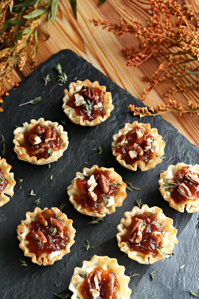 Phyllo Mini Tarts with Onion and Goats Cheese