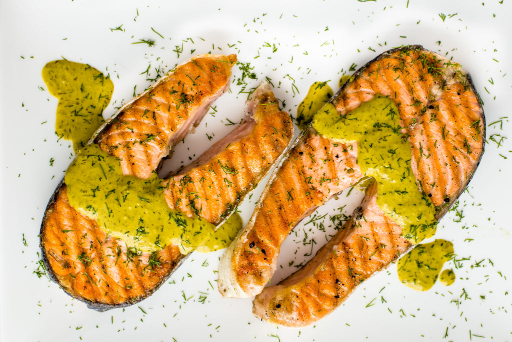 salmon steaks with lemon tahini sauce