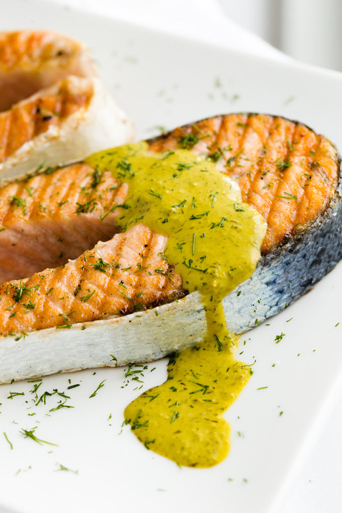 Salmon Steaks with Lemon Dill Tahini Sauce