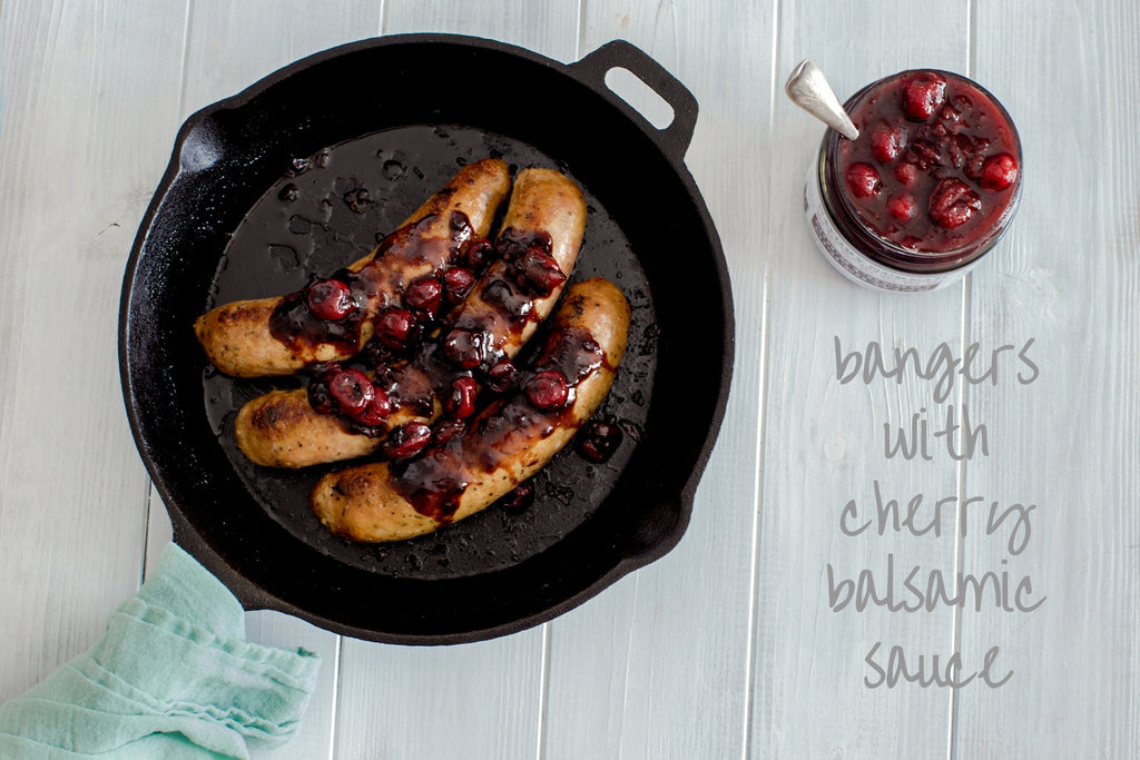 sausages with cherry sauce