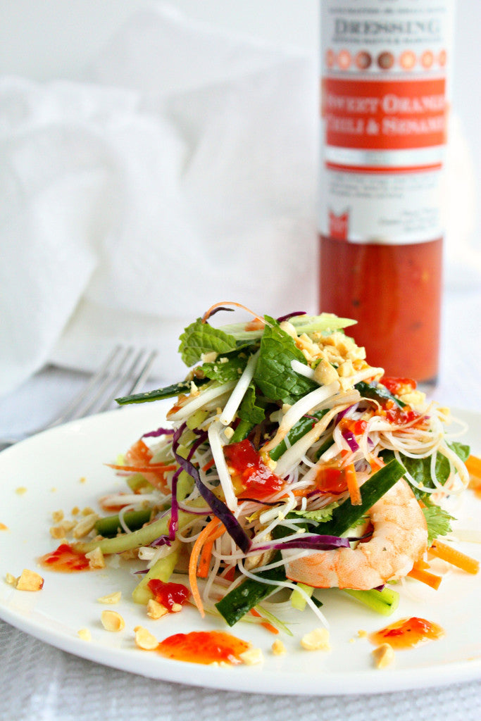 Shrimp Vermicelli Salad | Sweet Orange Chili Sesame Dressing