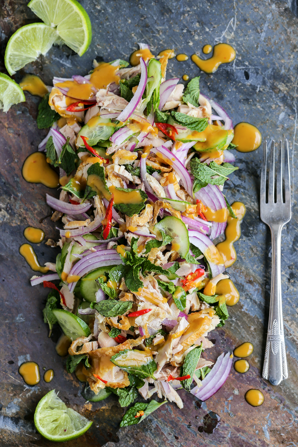 roast chicken mint cucumber salad with peanut dressing