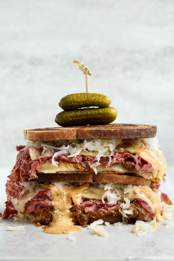 "Corned Beef Reuben with Southern Style Rustic Mustard ""Russian"" Dressing"