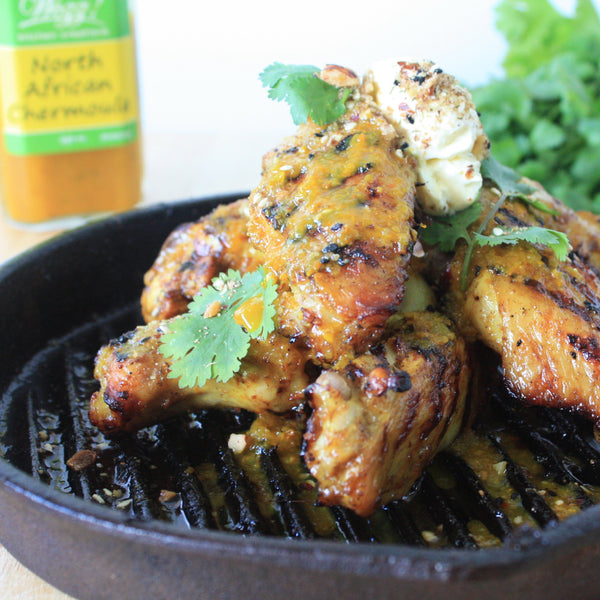 Chermoula Marinated Grilled Chicken Wings by Wozz!