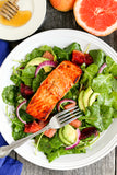 Kale Citrus Salad with Honey Salmon and Grapefruit Vinegar