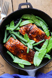 Korean Glazed Gochujang Salmon with Korean Raspberry Gochujang BBQ Sauce