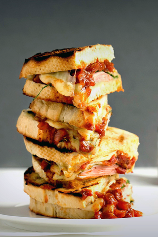 Moroccan Tomato Grilled Cheese Sandwich with Ham and Spinach
