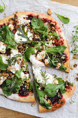 Pickled Beet Pizza with Goats Cheese, Arugula, Walnuts and Buratta