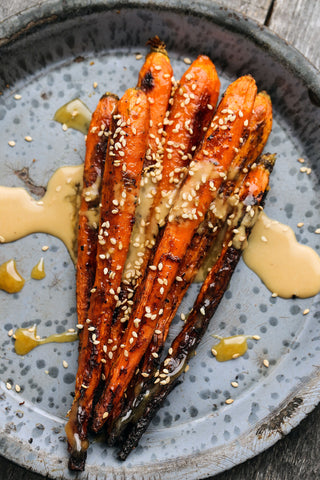 Japanese Sesame Miso Roasted Carrots with Honey