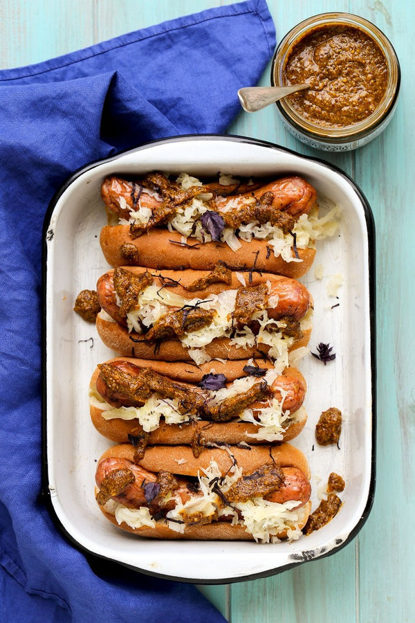 Grilled Sausages with Sauerkraut and Southern Rustic Mustard
