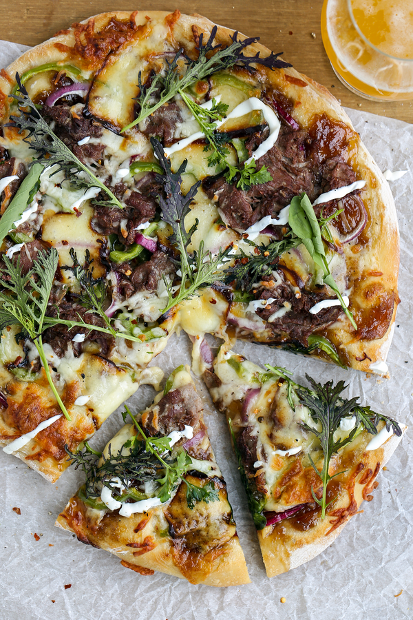 Steak Bomb Pizza with Triple Ale Onion Jam Spread