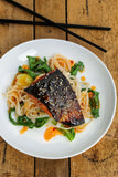 Sweet Chili Orange Sesame Salmon over Noodles