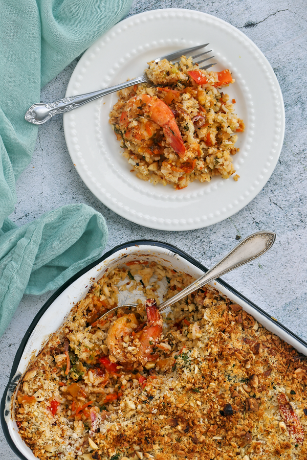 Thai Orange Ginger Shrimp and Rice Bake