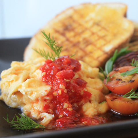 Velvet Scrambled Eggs with Grilled Sides