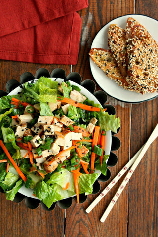Asian Chicken Salad w/ Ginger Soy Dressing and Sesame Toasts