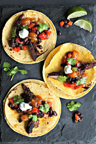 Grilled Beef Tacos and Spicy Mango Salsa