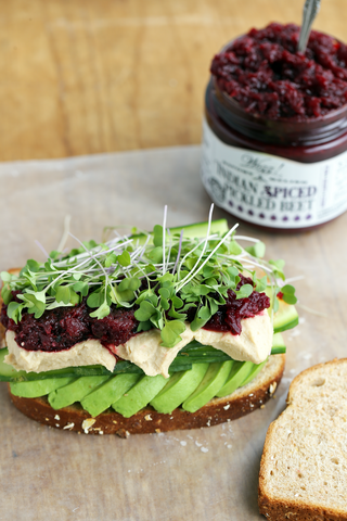 veggie hummus sandwich with pickled beet relish
