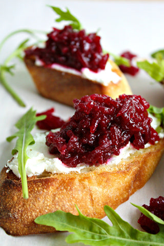 Beet and Goats Cheese Crostini