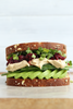 hummus veggie sandwich with pickled beet relish